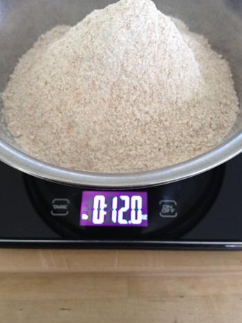 Next, I measure 12 ounces stone ground whole wheat flour