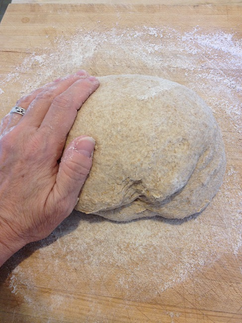 One hand is holding the camera, so I must beg your indulgence and ask you to imagine the other hand on the dough, kneading away