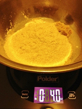 Lastly, we mix in four ounces stone ground whole wheat flour
