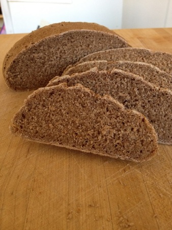 The bread tastes good, but the texture is dense and heavy