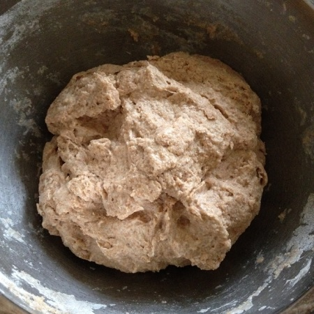 The rough dough ball, seconds before I covered it to let it rest for twenty minutes