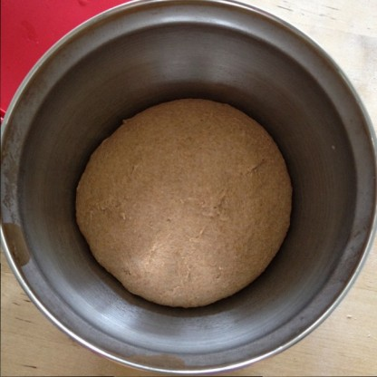 An hour and fifteen minutes later, the dough, slightly expanded, shows signs of life