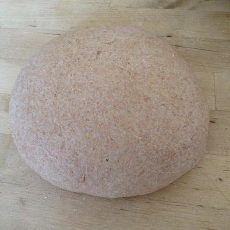 The boule, loosely shaped and resting twenty minutes before final shape