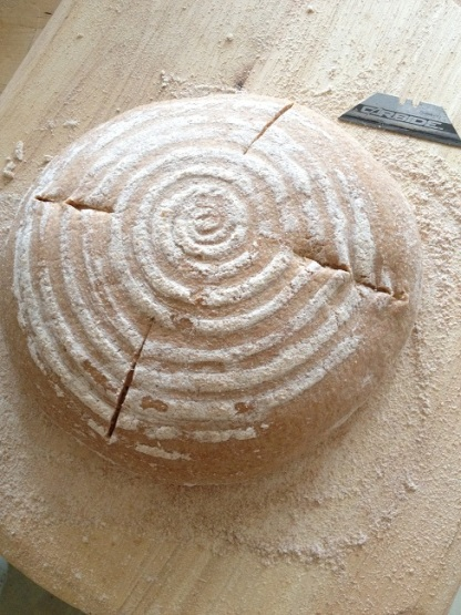 The boule, slashed and ready for the oven