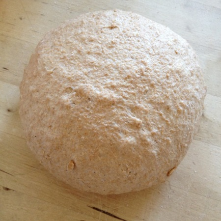 After the first proofing, the dough quickly shaped into a ball, ready for 20 minute rest before final shaping