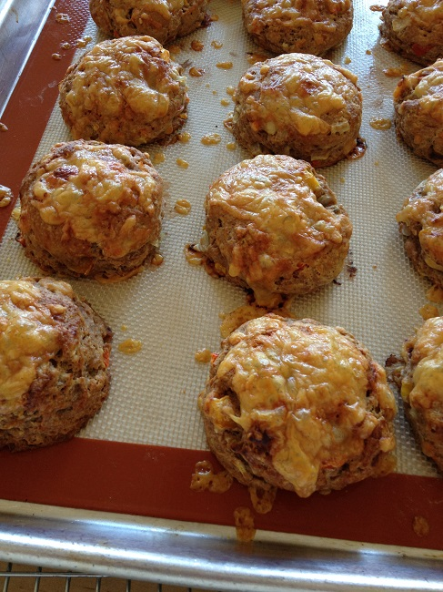 Cheesy whole wheat sourdough scones with chipotle, bell peppers and onions