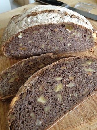 The whole wheat sourdough walnut pumpkin-seed herb boule