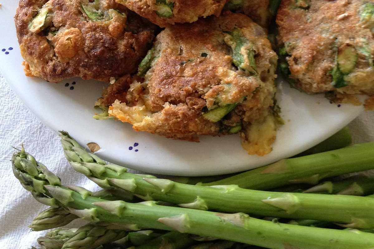 Savory asaparagus scones made with excess sourdough starter