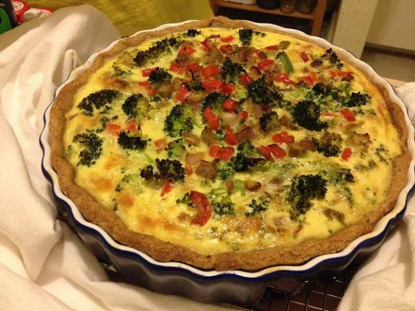Broccoli & Red Pepper Quiche in a Flaky Whole Wheat Crust