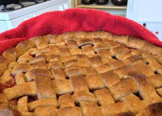Strawberry rhubarb pie in whole wheat lattice crust