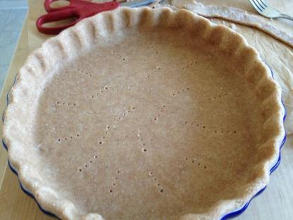 Unbaked whole wheat pie shell