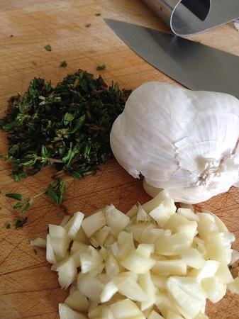 Chopped thyme and garlic