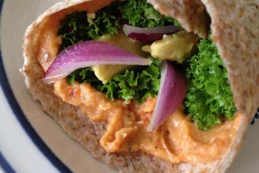 Roasted Red Pepper Hummus in a Sprouted Grain Wrap