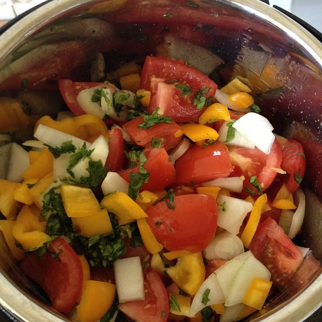 All the veggie goodies in the pot, ready to cook long and slow