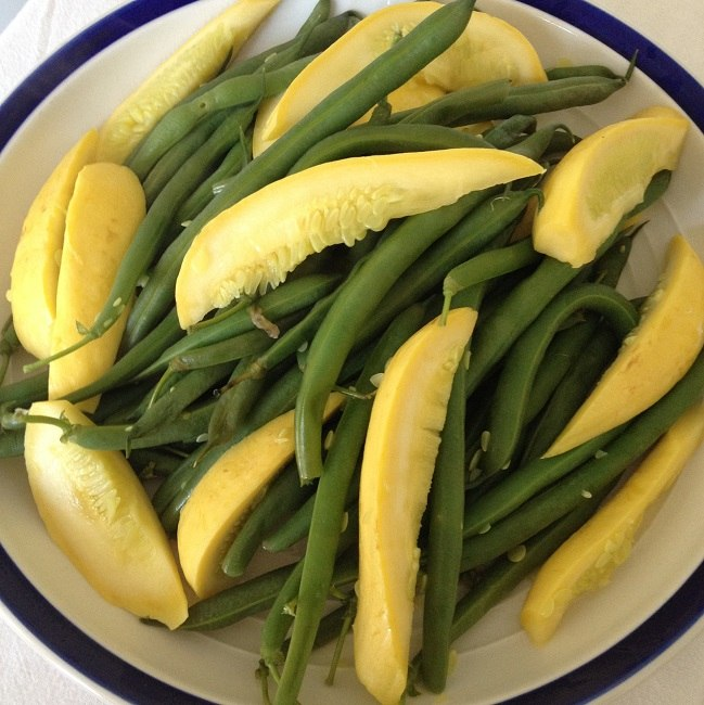 Yellow summer squash and fresh green beans lightly steamed