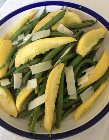 Summer squash and fresh green beans, lightly sauteed, with shaved Parmesan Reggiano
