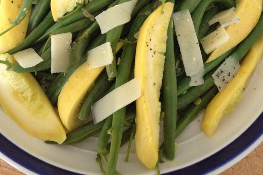 Summer squash and green beans with Gruyere cheese