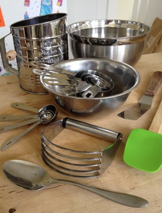 Some of the baking tools and utensils you need to make biscuits and scones