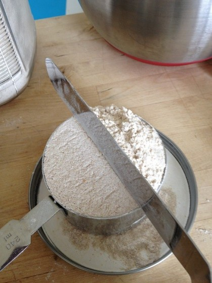Level the flour across the top of the measuring cup