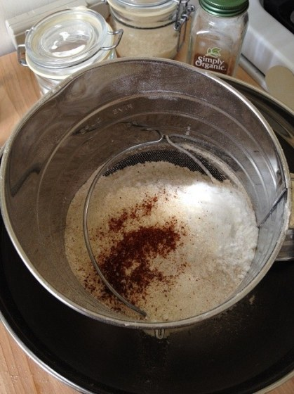 Add the remaining dry ingredients to the sifter