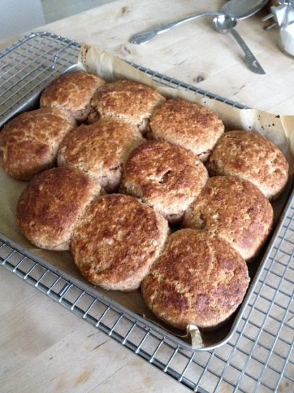 Rest the biscuits or scones in their pan over a cooling rack 5 minutes