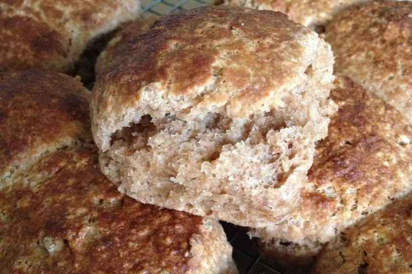 Fresh-baked whole wheat biscuits