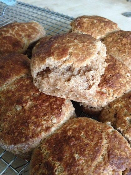 100 percent whole wheat biscuits hot from the oven