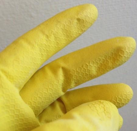 Wear plastic gloves when handling suspect food