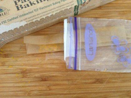 Seal zest in plastic freezer bag