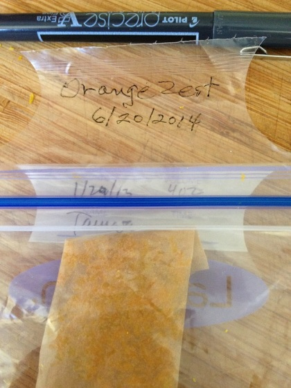 Label the baggie with name of food and the date