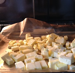 Set the butter cubes in oven with light on for 15 minutes