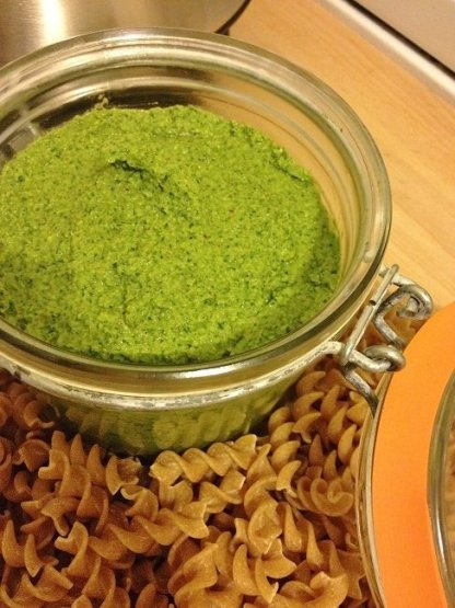 Parsley kale pesto in Fido jar with dried fusilli