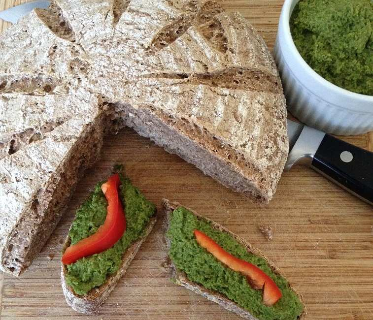 Parsley kale pesto on whole wheat wild yeast sourdough bread
