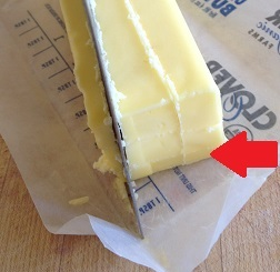 Turn the cube and slice the butter three times once more, so you have 9 long sticks