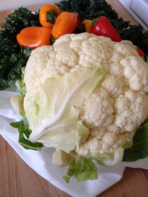 1 Large cauliflower, a few leaves of dragon kale and a pile of lunchbox peppers