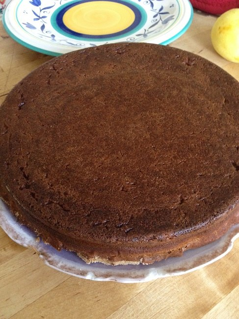 Whole wheat coconut cake, ready to split into two layers