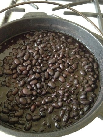 Pot of black beans simmering on the stove and nearly ready to eat