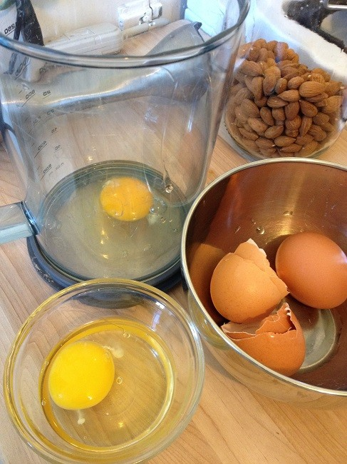 Crack eggs into a ramekin and add them one at a time to your mixing bowl or blender