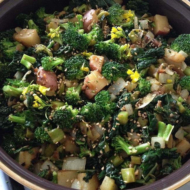 Broccoli, kale potato skillet with rapini and toasted sesame seeds