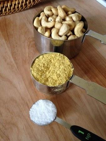 "Ingredients for vegan ""Parmesan cheese"": Cashews, nutritional yeast, sea salt"