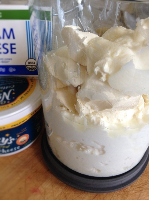 Start with a carton of organic low-fat cottage cheese, a bar of organic Neufchatel or cream cheese, and a tablespoon or two of live-culture yogurt, preferably homemade