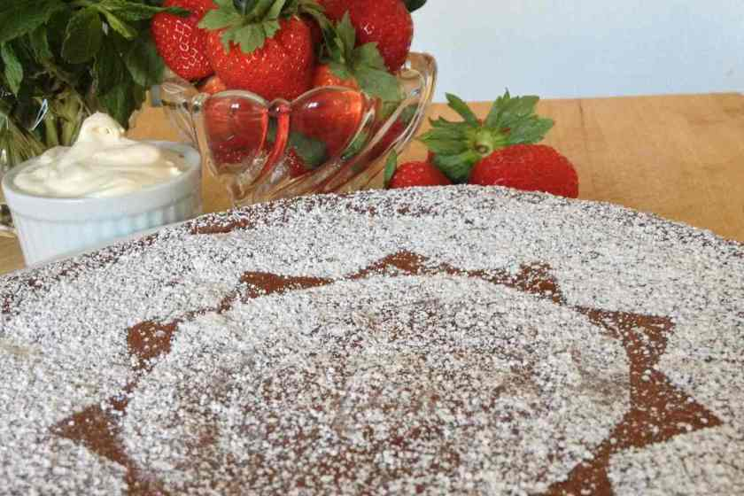 Chocolate almond torte, dusted with powdered sugar