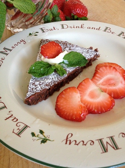 Strawberries, mint and mascarpone with chocolate almond torte