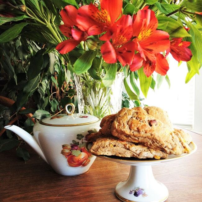 Morning tea with lilies and scones