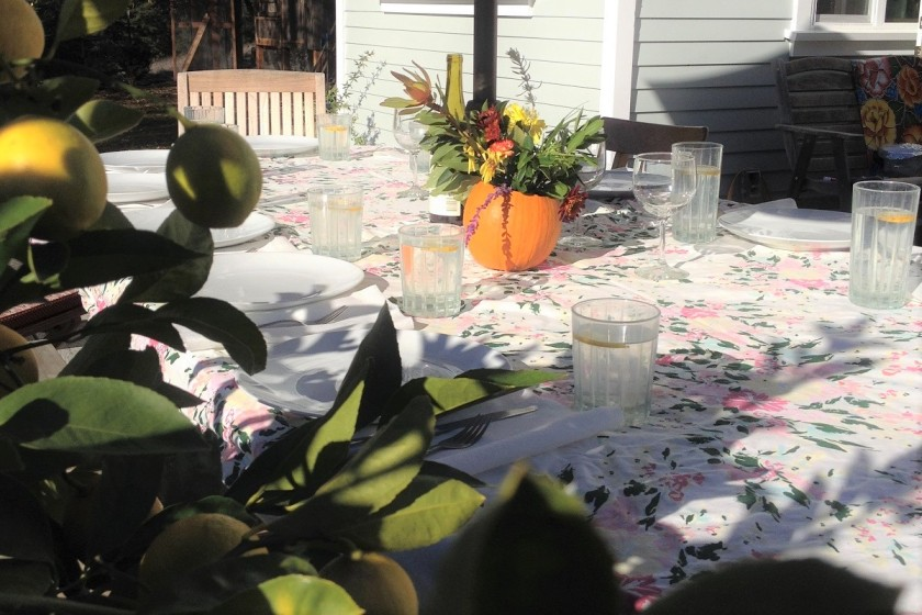 Family dining table on a sunny day
