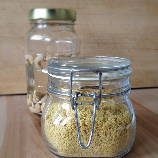 "Vegan ""Parmesan cheese"" keeps well in Fido jars with their locking caps"