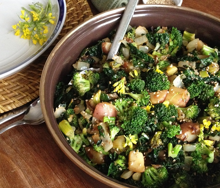 Broccoli potato skillet with kale and rapini