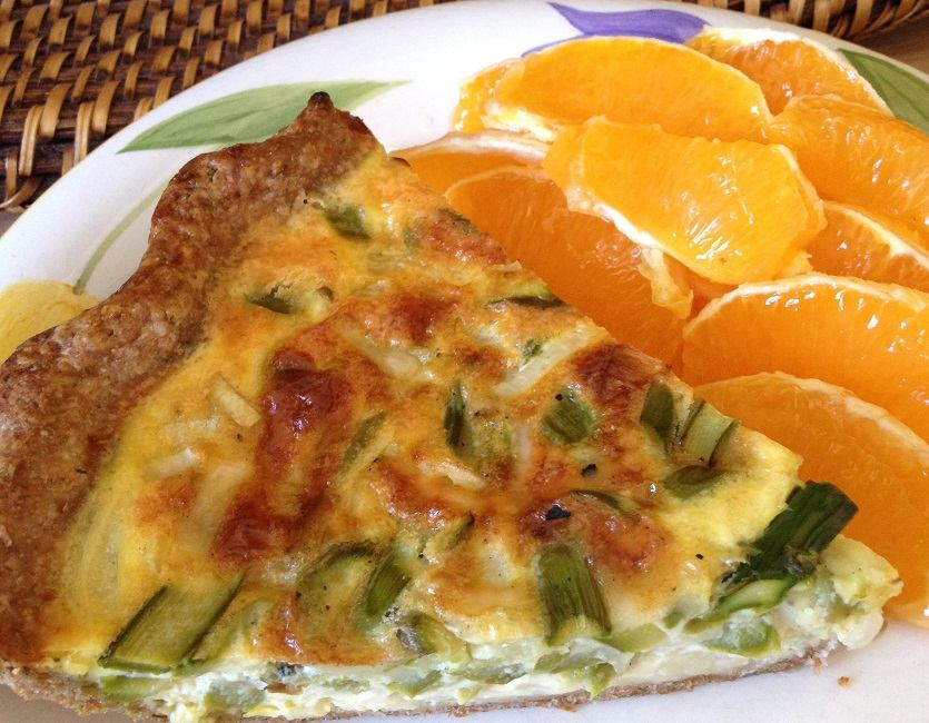 Our slightly scorched asparagus quiche and orange slices--Easter brunch 2016