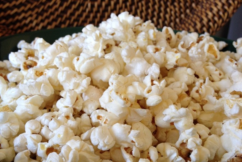 Bowl of kettle-popped corn, no oil or butter added