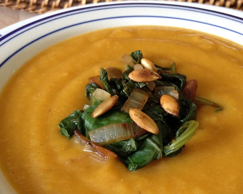 Butternut squash soup with sauteed kale, red onions and toasted pippins